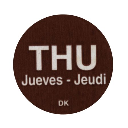 Daymark Brown Tri-Lingual Rotation Colored Dot Labels Thursday - 3/4