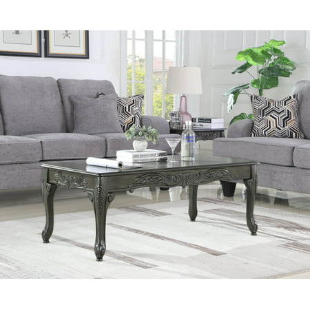 - Roundhill Traditional Ornate Detailing Grey Finish Wood Coffee Table