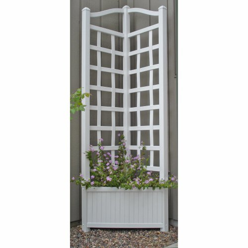 5.5-Foot Outdoor Triangle Vinyl Oxford Corner Planter with Trellis