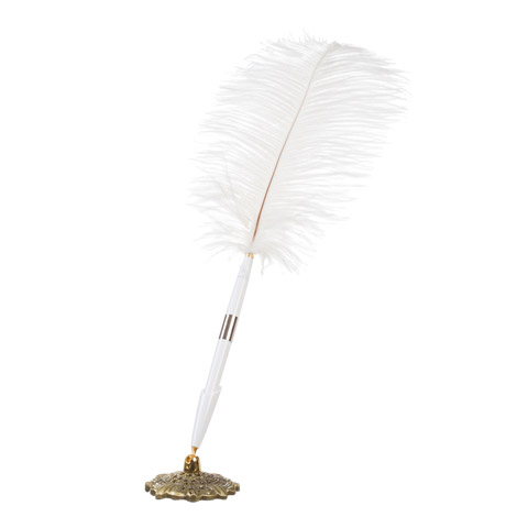 Feather Pen and Holder - White