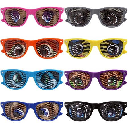 8 pc Mixed Color Cartoon Eye Decal Childrens Party Sunglasses - 8 Bit Sunglasses