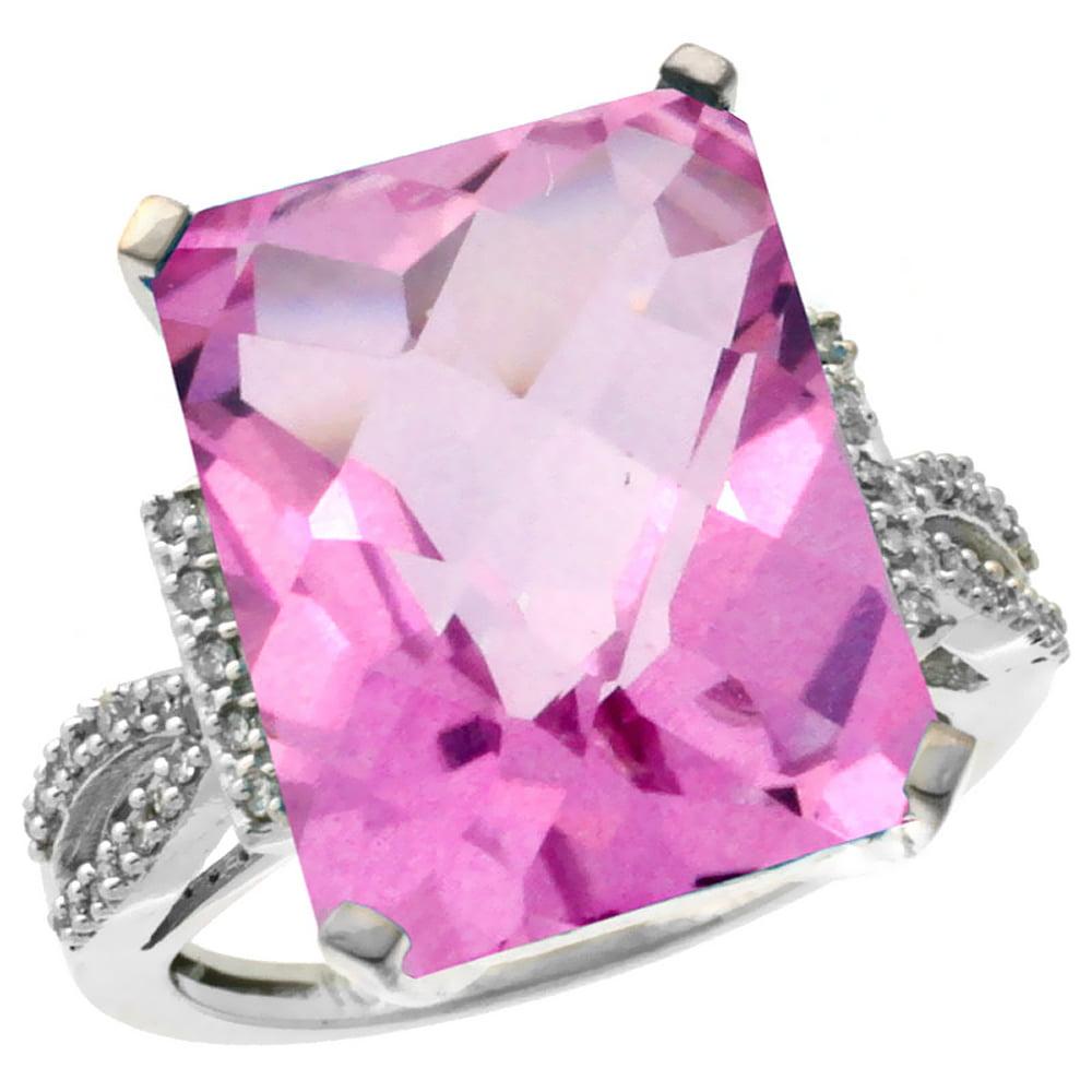 14K White Gold Diamond Natural Pink Topaz Ring Emerald-cut 16x12mm, size 5 by Gabriella Gold