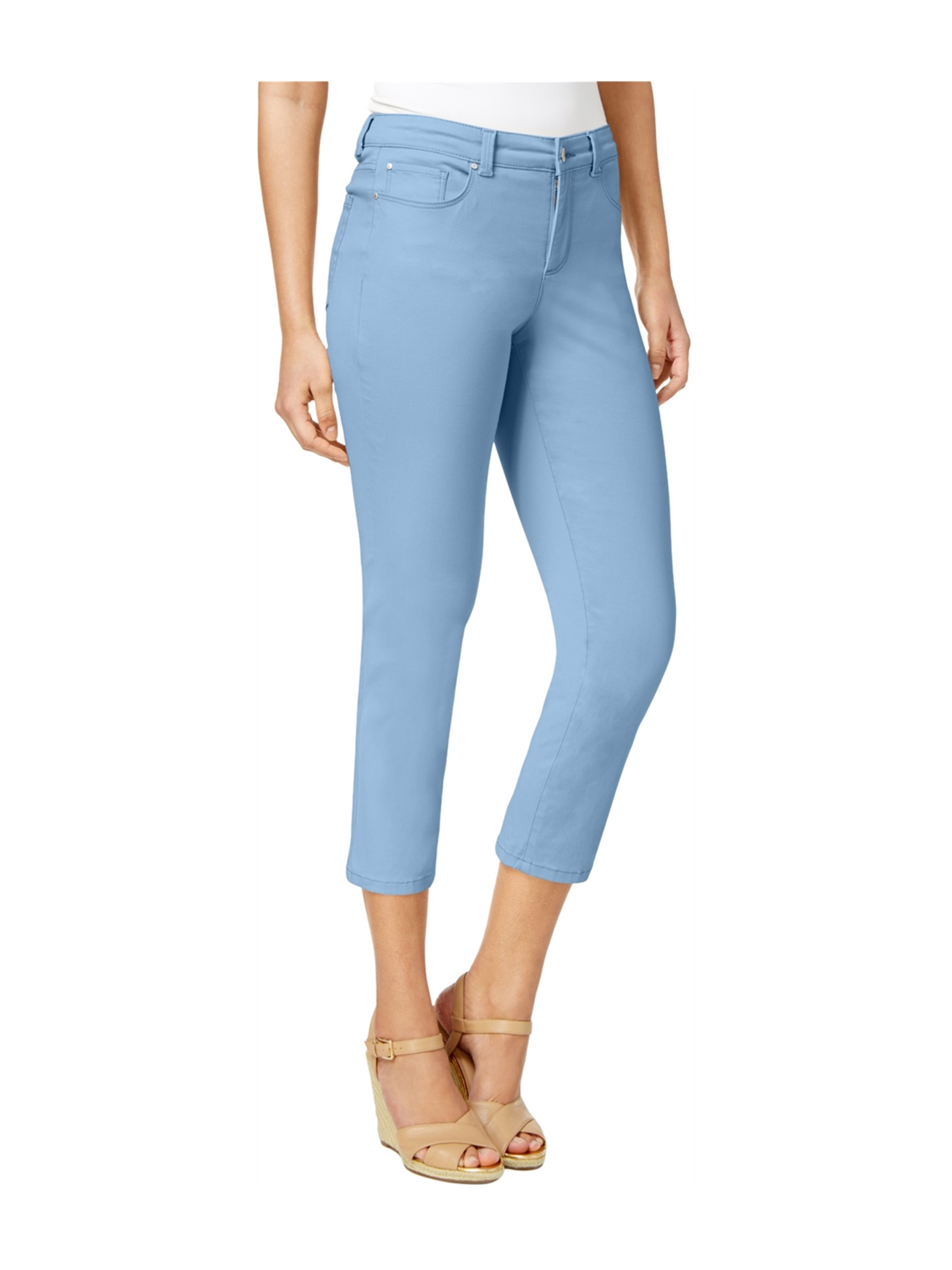 Charter Club Womens Textured Capri Casual Cropped Pants