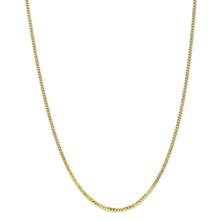 Roy Rose Jewelry 10K Yellow Gold 2.2mm Flat Beveled Curb Chain ~ length: 16 inches