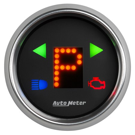 Gear Shift Indicator Bezel - AutoMeter 6150 Cobalt Automatic Transmission Shift Indicator; 2-1/16 in.; Black Dial Face; Bright Anodized Bezel; Red LED Display w/ Blue Warning Indicators Digital LED; PRNDLodO54321;