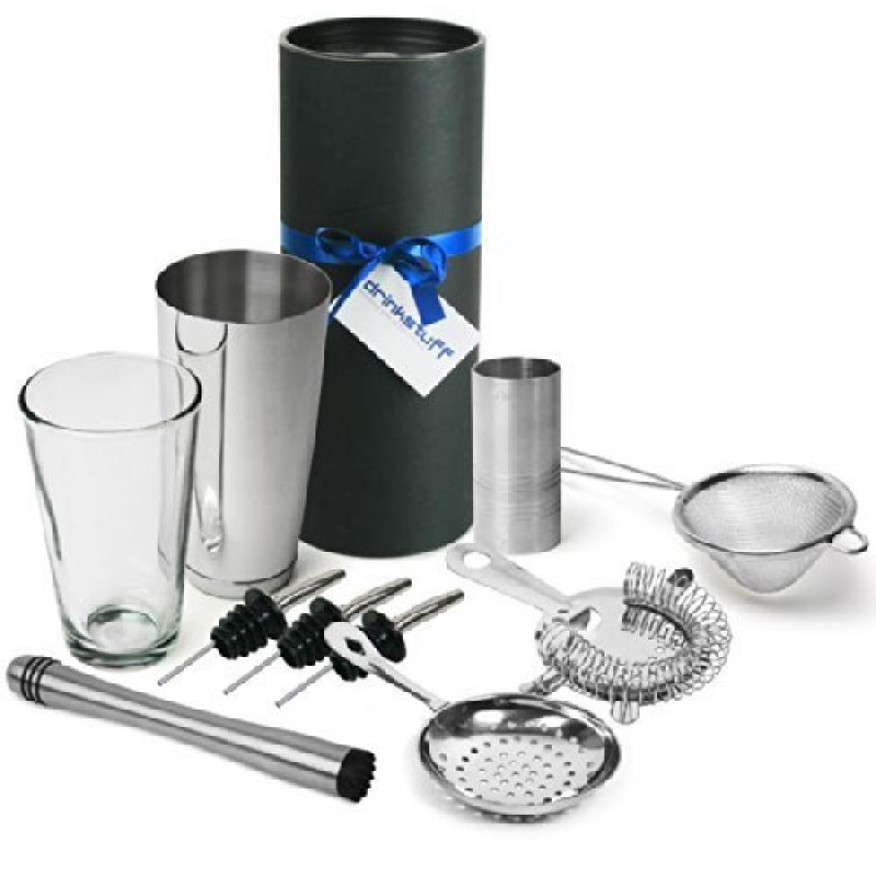 Barman's Barware Kit by bar@drinkstuff | Cocktail Gift Set with Boston Cocktail Shaker Tin & Glass, Jigger... by