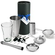 Barman's Barware Kit by bar@drinkstuff | Cocktail Gift Set with Boston Cocktail Shaker Tin & Glass, Jigger Measure,...
