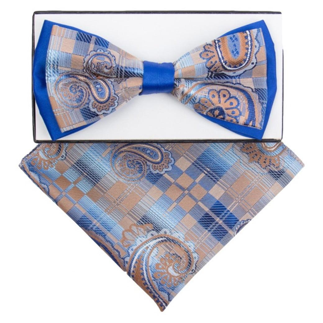 New formal men/'s pre tied Bow tie /& hankie set paisley pattern Brown wedding