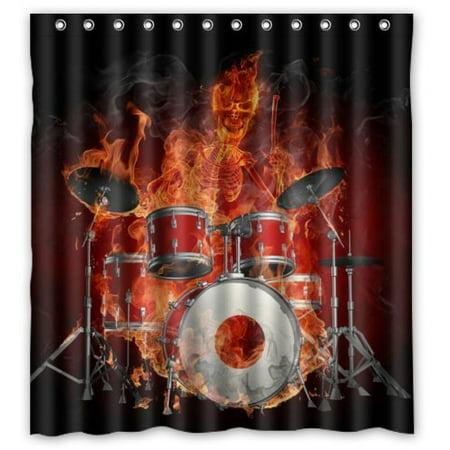 Ganma Rock Flaming Drum Set Drum Kit Musical Instrument Shower Curtain Polyester Fabric Bathroom Shower Curtain 66x72