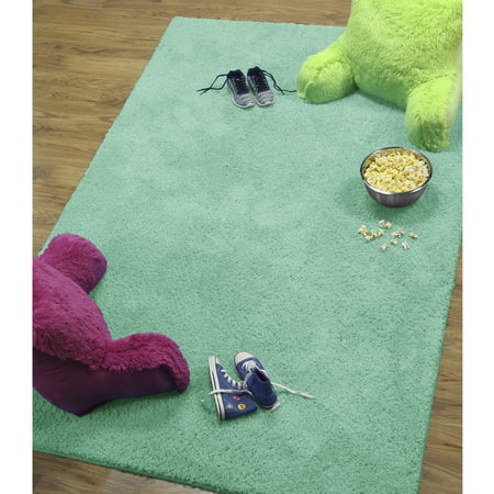 Mainstays Polyester Solid Textured Shag Area Rug and Runner Collection Aruba Blue Area Rug