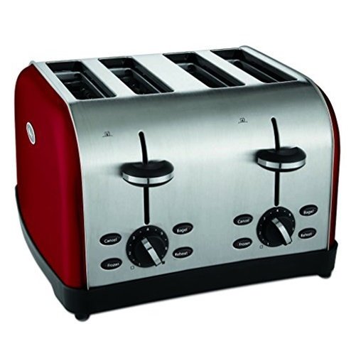 OSTER 4-Slice Toaster with Extra-Wide Slots and 7 Shade Settings - Red