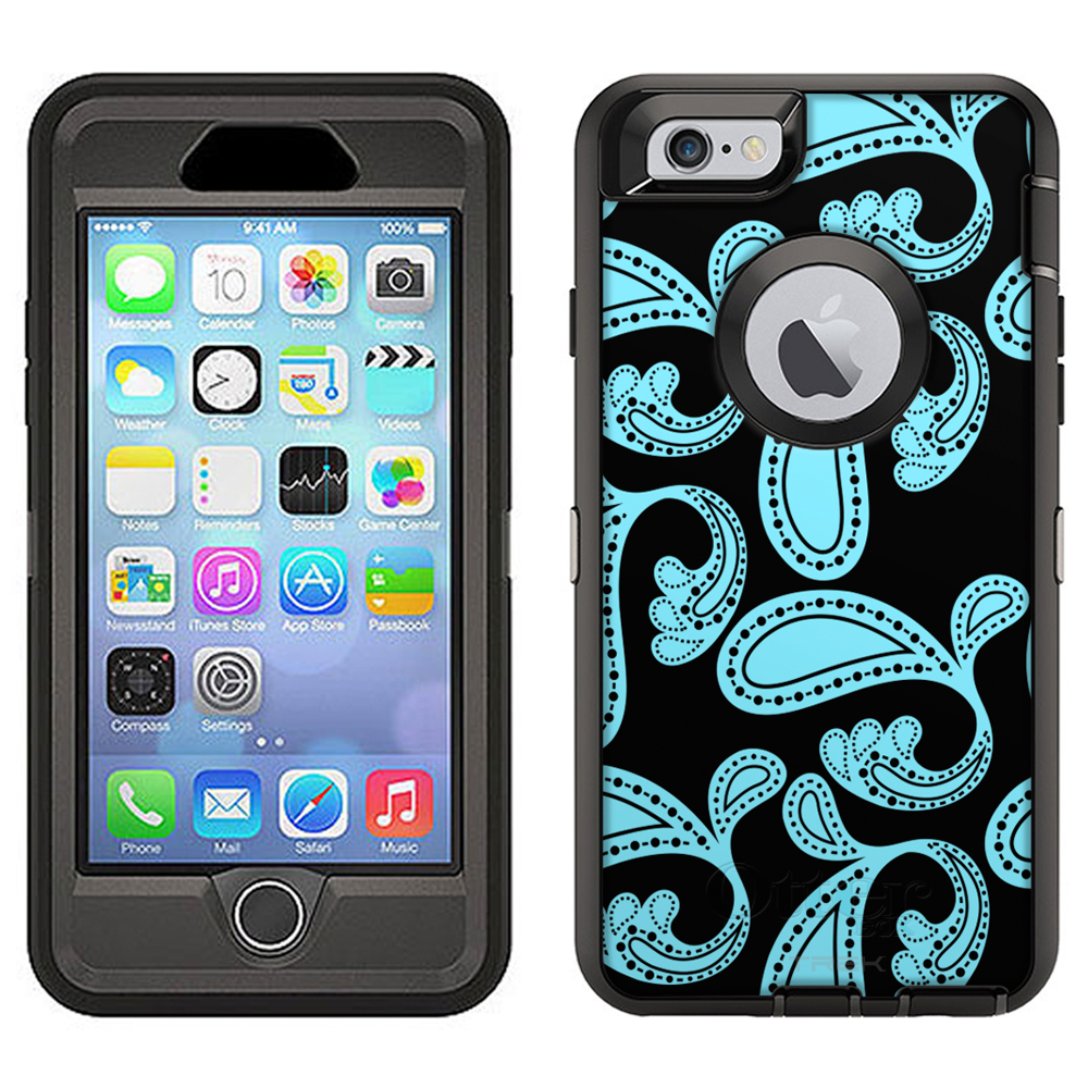 SKIN DECAL FOR Otterbox Defender Apple iPhone 6 Plus Case - Paisleys Bold Turquoise on Black DECAL, NOT A CASE