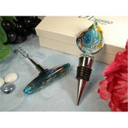 DLusso Designs A8000 Murano Design Cork Screw Stopper With Set Blue Gold, Pack Of - 2.
