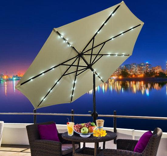 Outsunny 9' Outdoor Patio Umbrella w/ Tilt & Solar Powered LED Lights - Cream