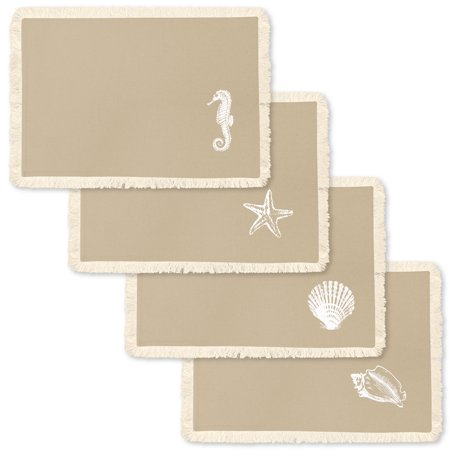 Homewear Coastal Stamped Icon, 4 Piece Placemat Set, Natural