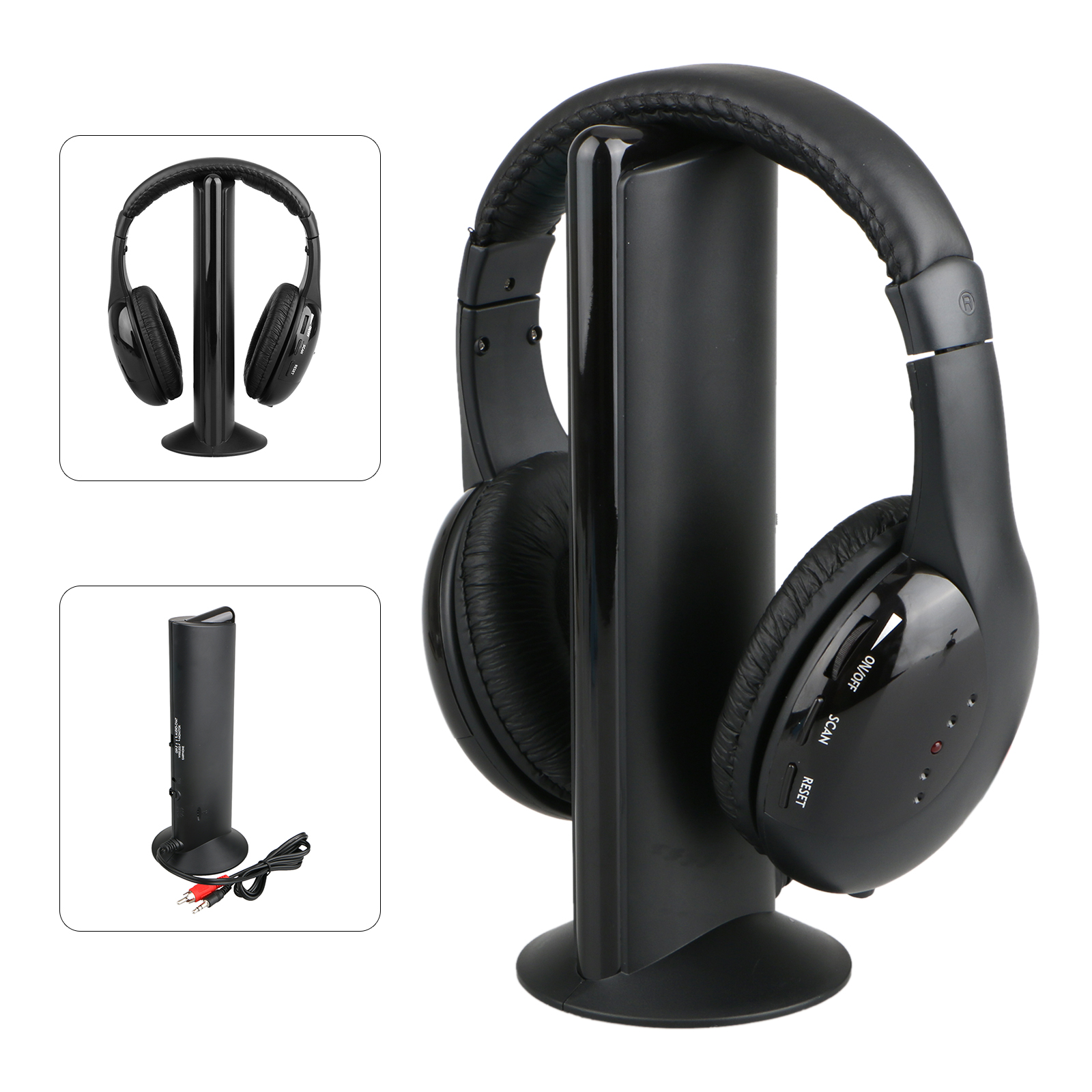 EEEkit Wireless Headphones with RF Radio Mic Holder Stand for Smartphone, Channel TV Cound, PC, Game Player, DVD Player, VCD Player, Audio Device, MP3 Player, and CD Player