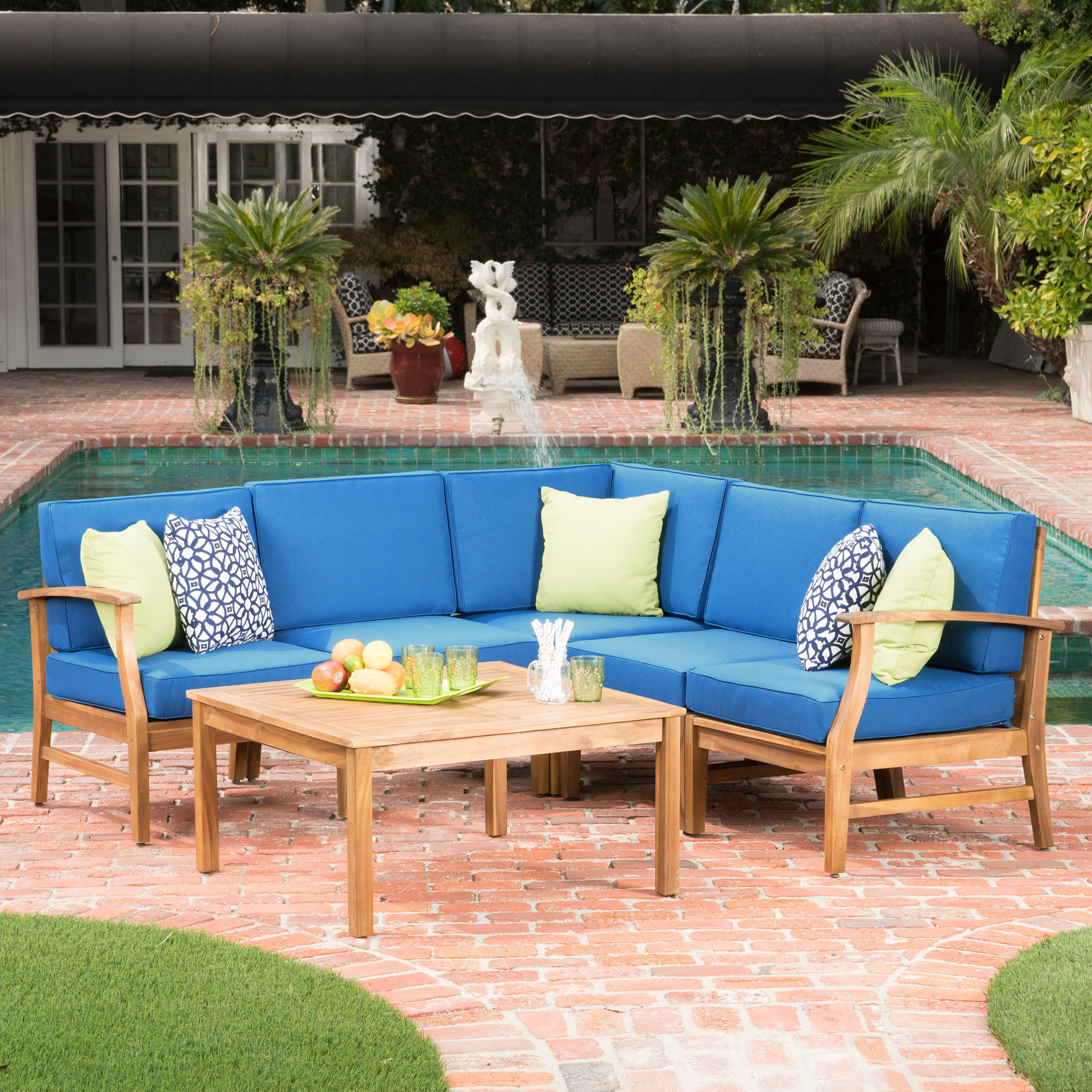 Cielo Terrace 6-Piece Outdoor Wood Conversation Set with Cushions, Blue