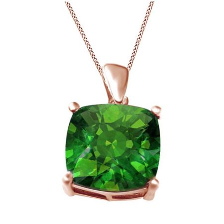 4.53 Carat 12mm Cushion Created Green Helenite Pendant Necklace 14k Rose Gold Over Sterling Silver 12 Mm Turquoise Necklace
