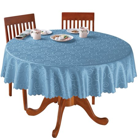 70 Round Tablecloth (Collections Etc Solid Scroll Scalloped Edge Tablecloth, 70