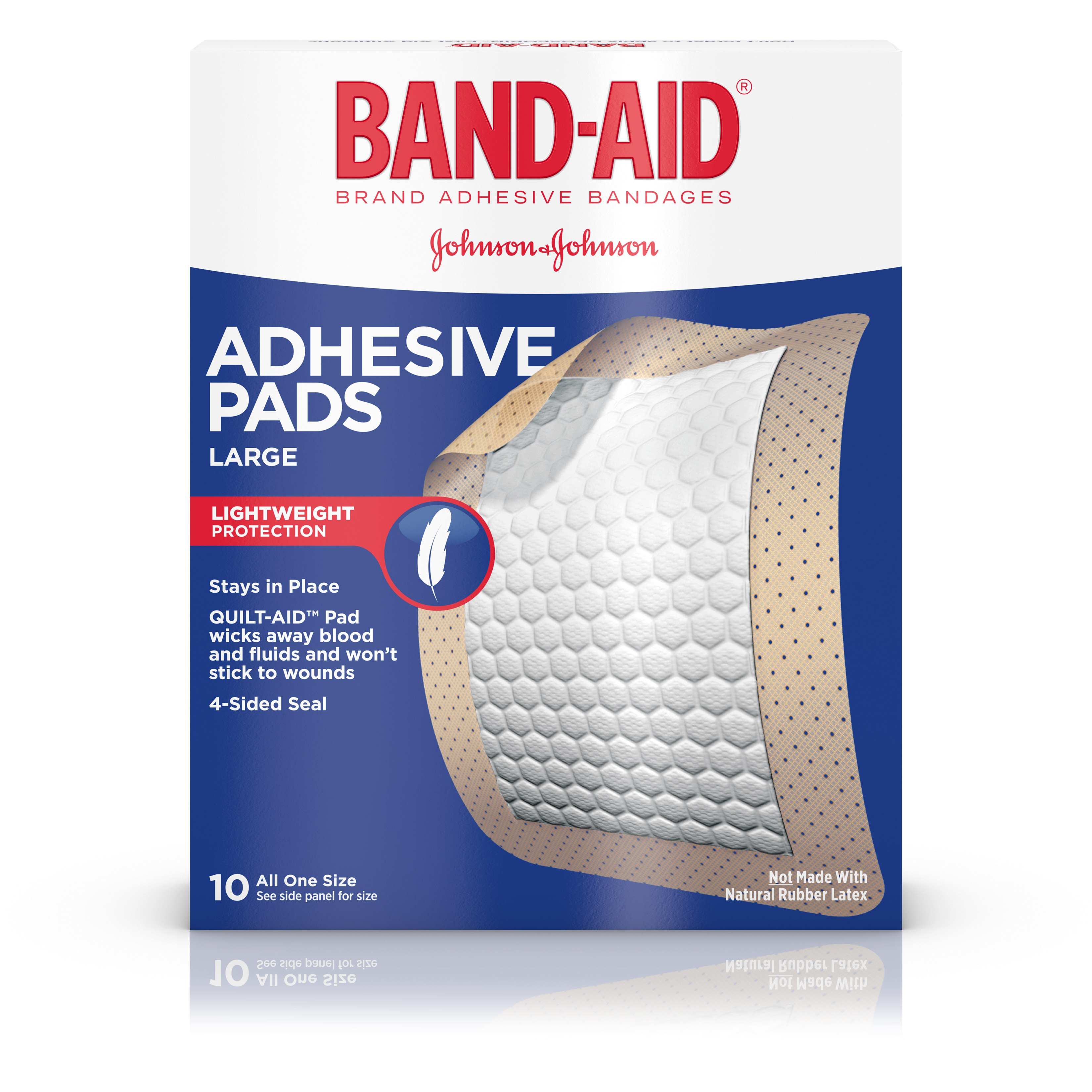 Band-Aid Brand Adhesive Pads, Large Bandages for Wound Care, 10 ct