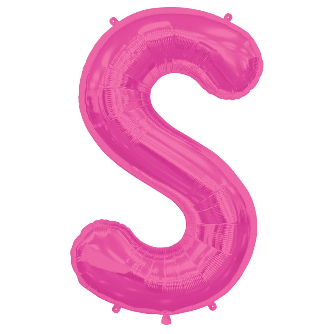 "Northstar Alphabet Letter S Shape Solid Jumbo Helium 34"" Foil Balloon, Magenta"