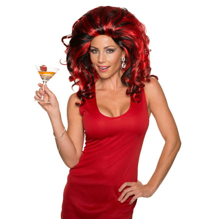 Red And Black Anita Cocktail Drag Queen Big Hair Curly Wig](Drag For Halloween)