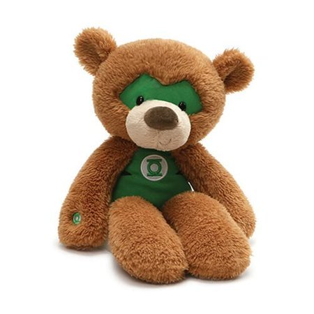 "GUND 4061434 Dc Comics Fuzzy Green Lantern Teddy Bear Plush Stuffed Animal, 14"", Brown"
