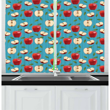 Apple Curtains 2 Panels Set, Halved and Whole Red Delicious Apples on Abstract Background Healthy Choices, Window Drapes for Living Room Bedroom, 55W X 39L Inches, Cream Blue Ruby, by