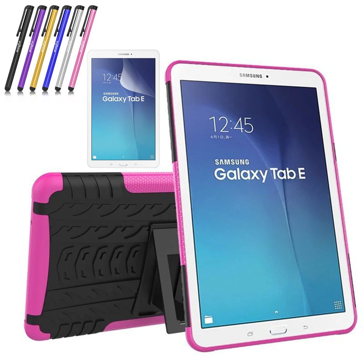 Mignova Heavy Duty Hybrid Protective Case with Kickstand Impact Resistant For Samsung Galaxy Tab E 9.6 Inch SM-T560 Screen Protector Film and Stylus Pen (Black)