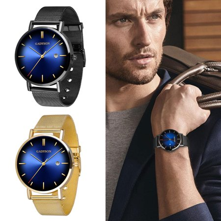 TSV Men's Minimalist Slim Watches Fashion Casual Analog Quartz Dress Watch for Men Classic Stainless Steel Mesh Band Business Sport Wristwatch with Round Dial, Calendar Display, 20mm, Gift