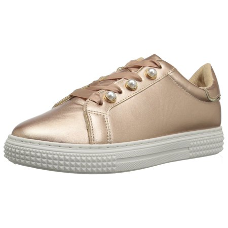 Gold Sneakers Shoes - Qupid Womens Waver Low Top Lace Up Fashion Sneakers