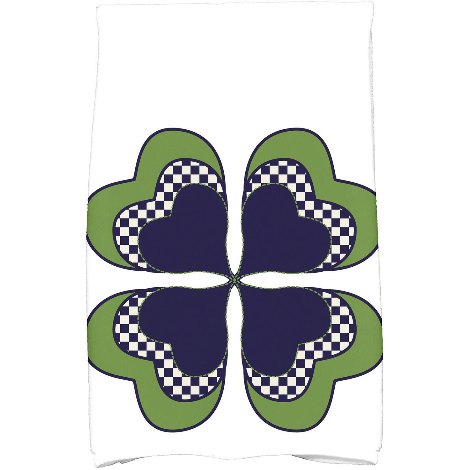 "Simply Daisy 16"" x 25"" 4 Leaf Clover Holiday Floral Print Kitchen Towel"