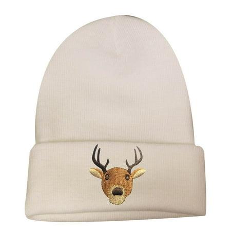 City Hunter Sk901 X-mas Reindeer Face Ski Beanie Hat - White