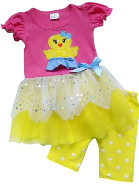 So Sydney Toddler Girls 2 Pc Easter Bunny Pastels Top and Pants Holiday Outfit