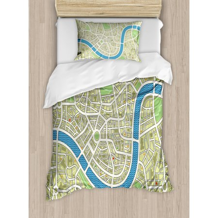Map Twin Size Duvet Cover Set, Street Map without Names Metropolis Capital City Downtown Urban, Decorative 2 Piece Bedding Set with 1 Pillow Sham, Avocado Green Lime Green Blue, by Ambesonne ()