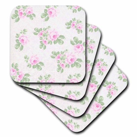 3dRose Vintage pink roses pattern - rose flowers on light cream damask - shabby chic Sun-Faded look floral - Soft Coasters, set of 4