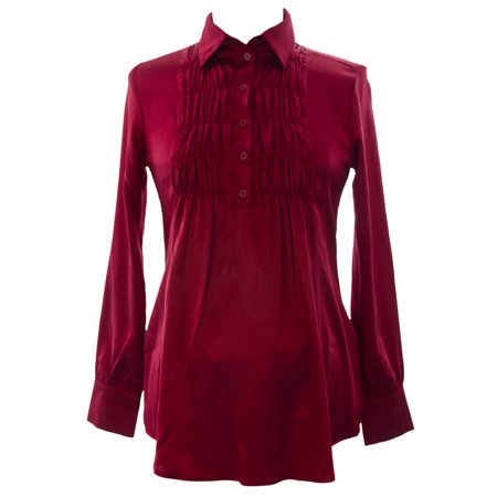 Olian Women's Ruched Front Maternity Blouse X-Small Burgundy