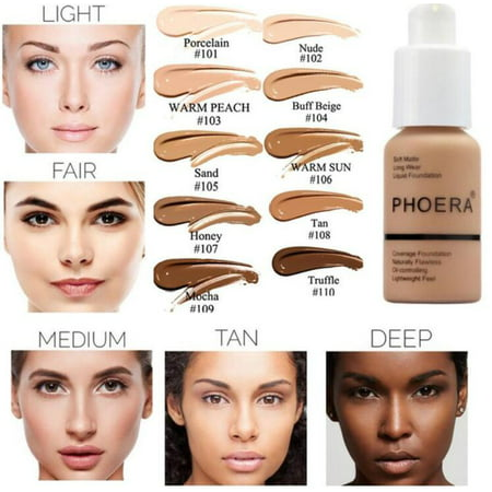 PHOERA Liquid Foundation Professional Makeup Full Coverage Fast Base Brighten long-lasting