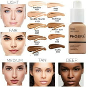 PHOERA Liquid Foundation Professional Makeup Full Coverage Fast Base Brighten long-lasting Shade