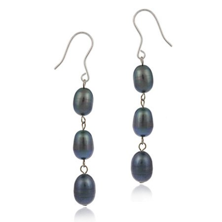 Baroque Freshwater Pearl Earrings - Sterling Silver Baroque Freshwater Cultured Peacock Pearl Dangle Earrings