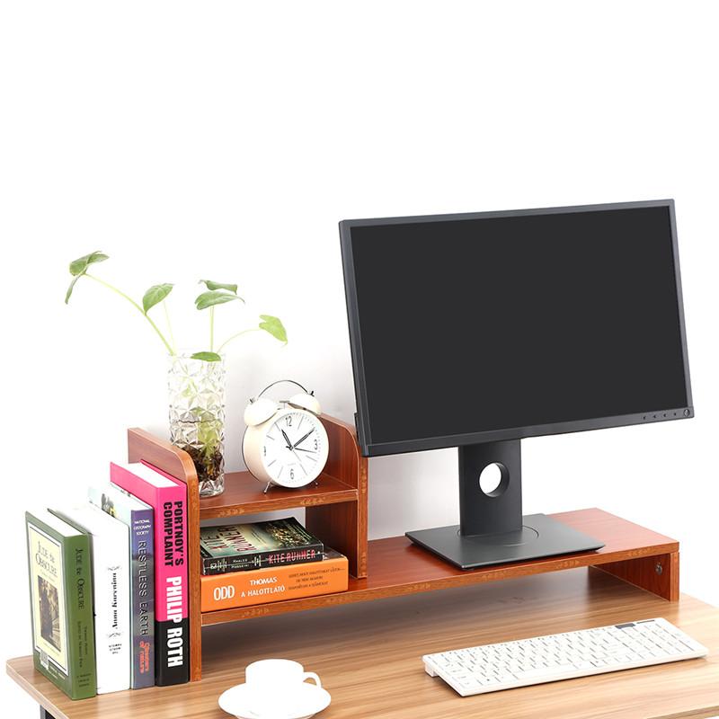 Computer Monitor Stand Riser,Laptop Monitor Riser Stand Home Office Desktop Wooden Storage Organizer Shelf,Red Walnut