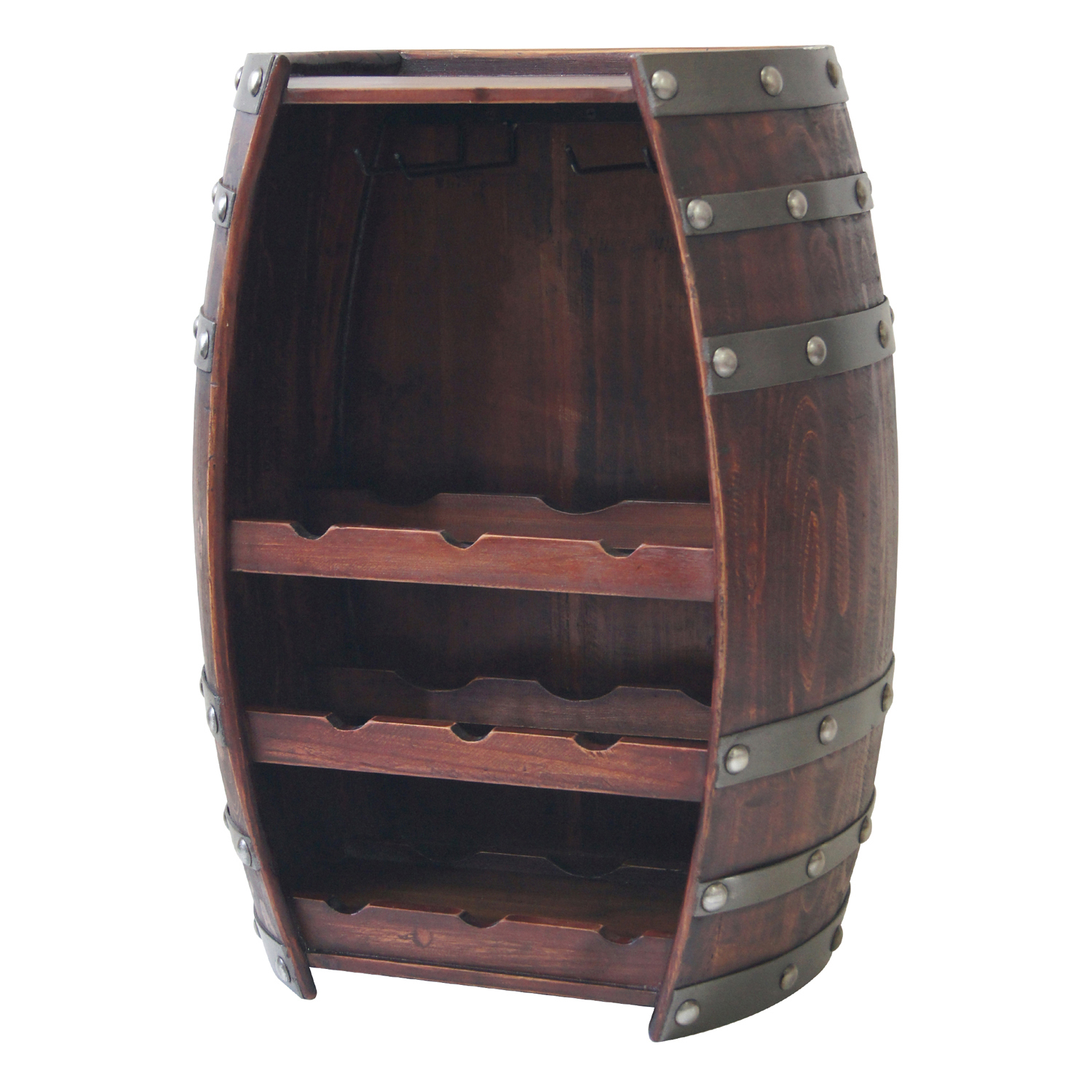 Wine Barrel 9 Bottle Wine Holder W/ Glass Racks