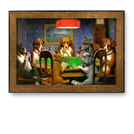 "wall26 Framed Art Prints - A Friend in Need (Dogs Playing Poker) by C.M. Coolidge - Famous Painting Wall Decor - 24"" x 36"" - Bronze and Black Frame"