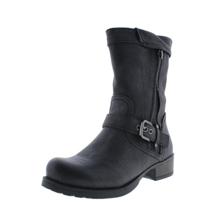 Womens Mara Beth Faux Leather Belted Motorcycle Boots ()