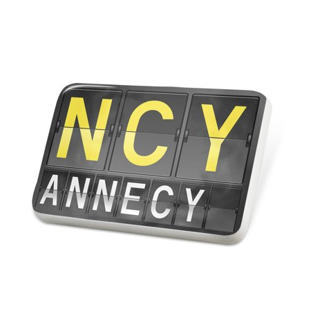 porcelein pin ncy airport code for annecy lapel badge neonblond. Black Bedroom Furniture Sets. Home Design Ideas