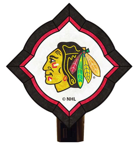 Chicago Blackhawks Vintage Art Glass Nightlight