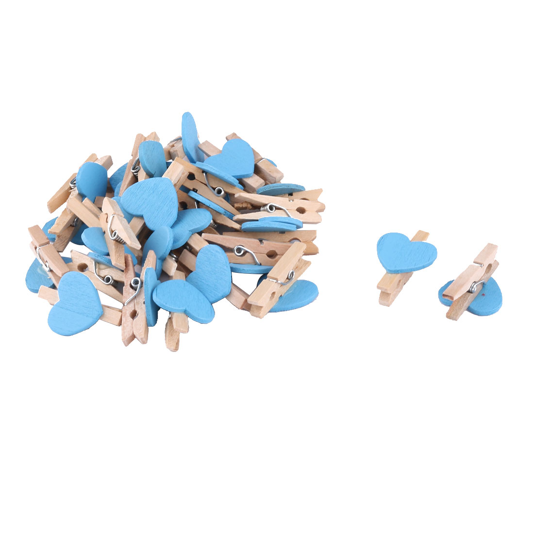 Home Party Wooden Heart Shaped DIY Craft Photo Post Card Pegs Clips Blue 30pcs