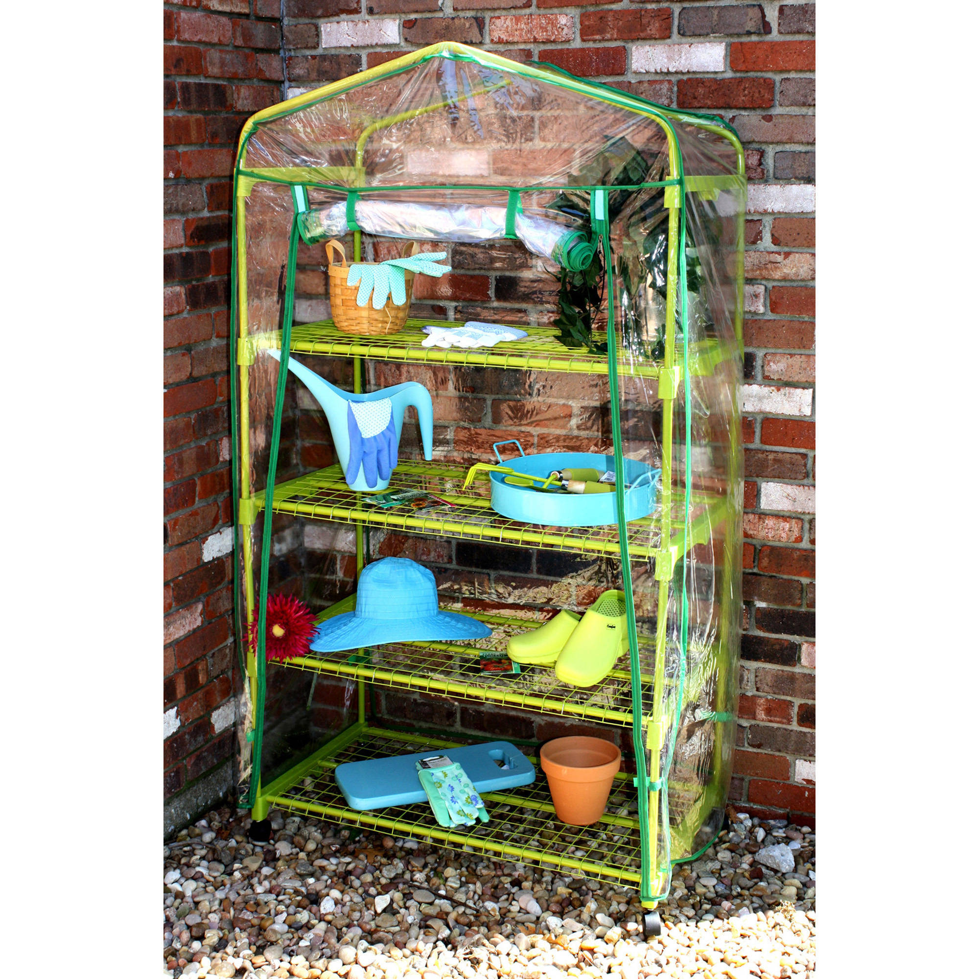 Portable Garden Greenhouse with Wheels, Green by MidWest Quality Gloves