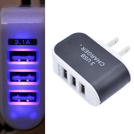 Black Multi 3-Port USB AC Wall Charger Home Plug 3.1A Universal for Cell Phones Cell Phone Home Wall Charger