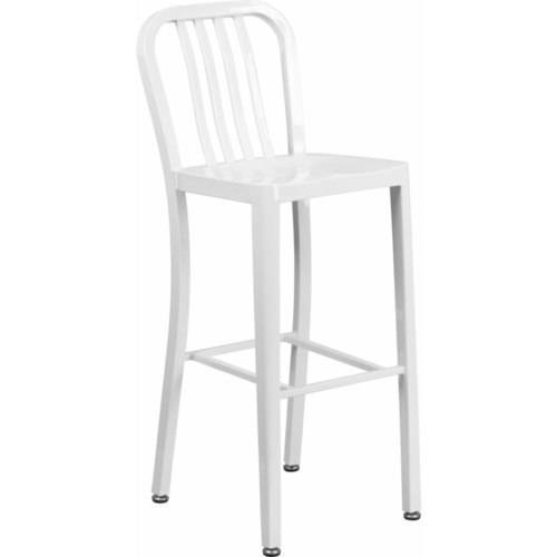 flash furniture high metal barstool with vertical slat back